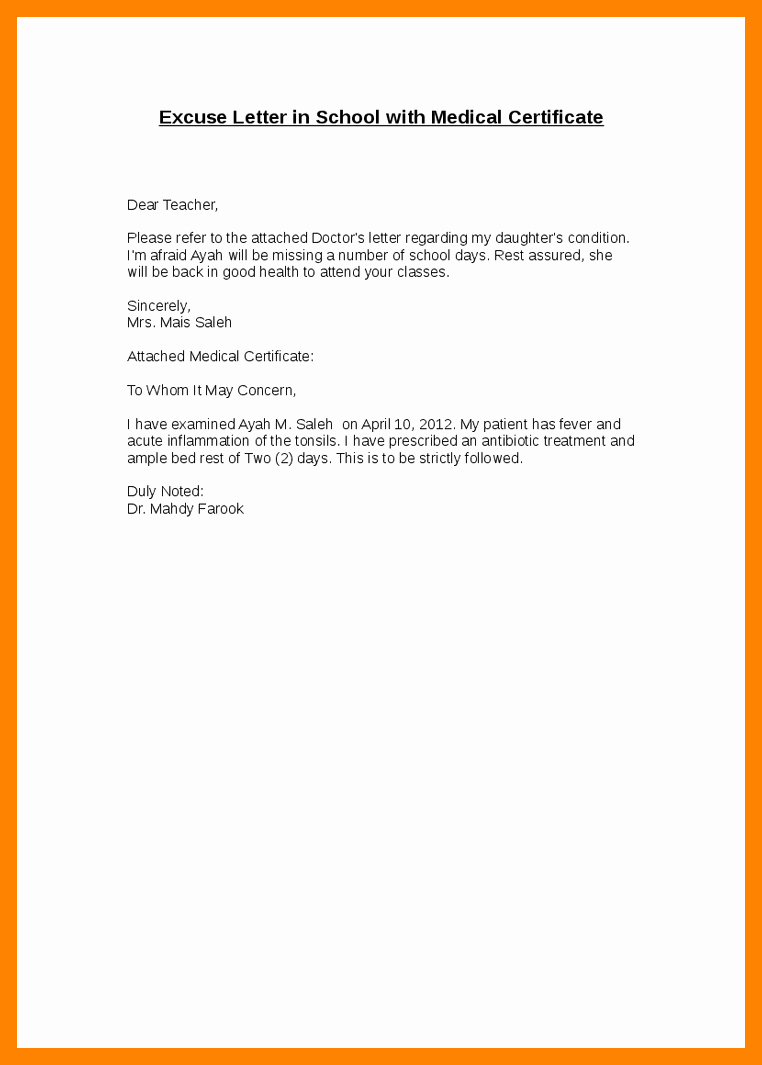 Absence From School Letter Sample Inspirational 7 8 Excuse Letter for Being Absent at School