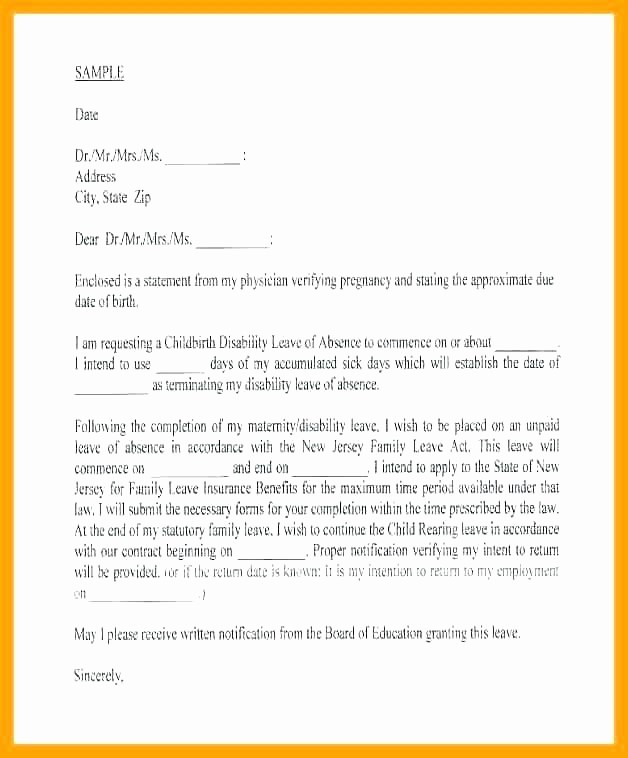 Absence From School Letter Template Best Of Maternity Leave Letter Template Employer Letters to