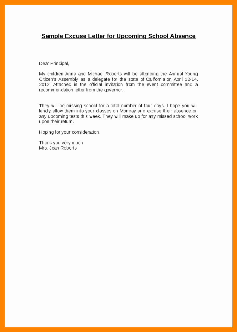Absence From School Letter Template Luxury 7 8 Excuse Letter for Being Absent at School