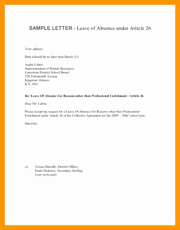 Absence From School Letter Template Luxury Absent Note for School Leave Absence Letter Sample