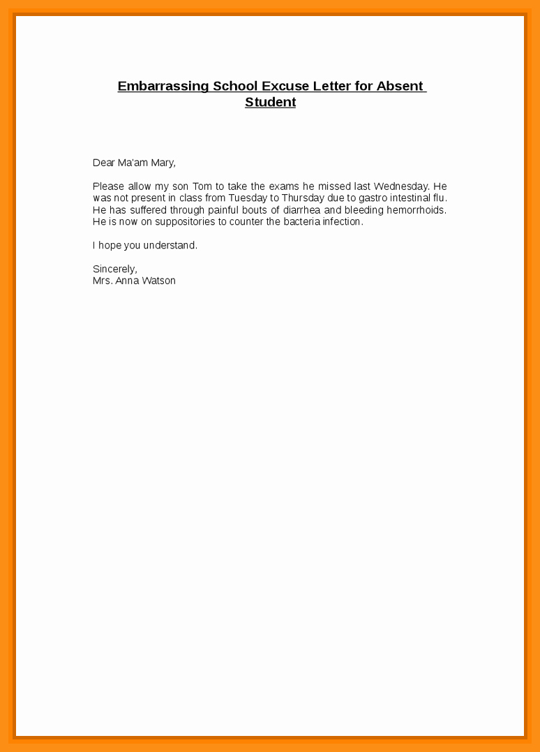 Absence From School Letter Template New 9 10 Excuse Letter for Absence In School