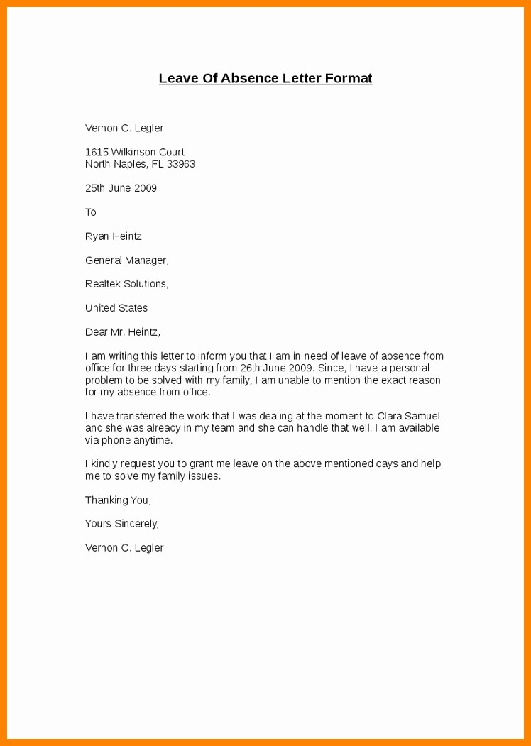 Absence From School Letter Template New Leave Letter format Letter Of Re Mendation