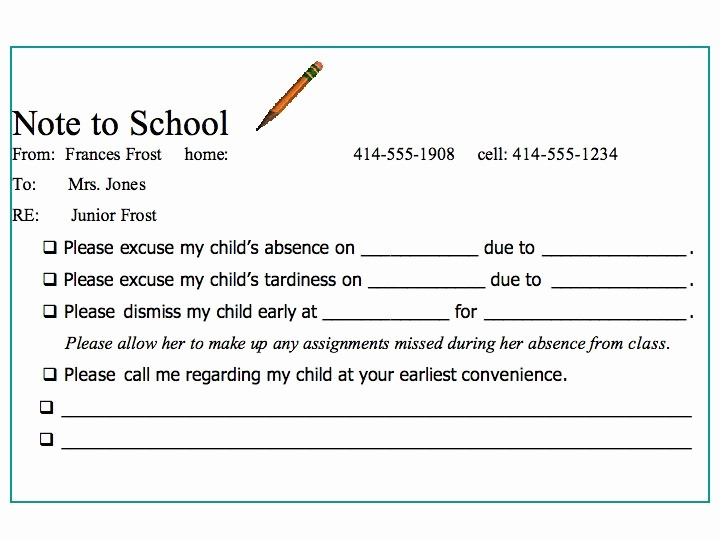 Absence Note for School Example Elegant Best S Of Tardy Excuse Template for Work School