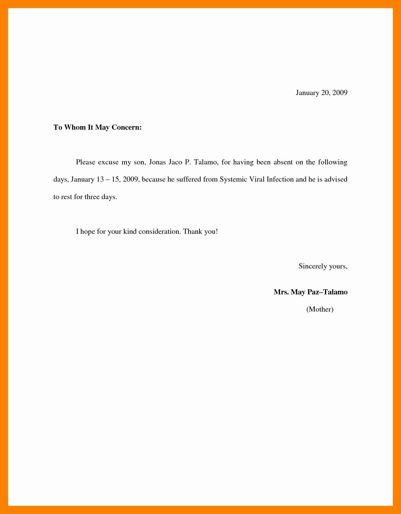 Absence Note for School Example Fresh Excuse Letter for Absence In School 1 Absent Best format