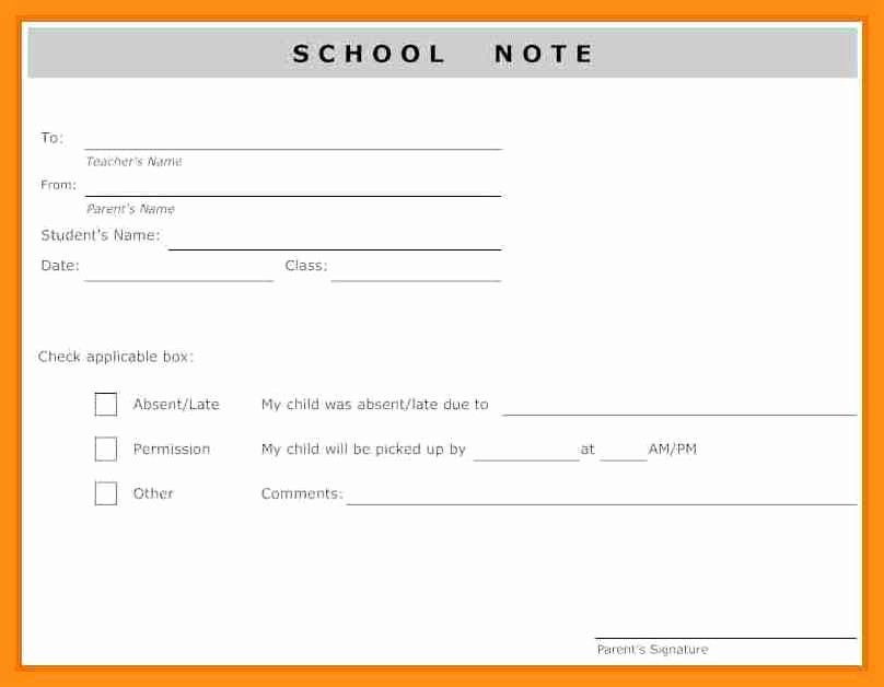 Absence Note for School Example New Absent Note for School Template