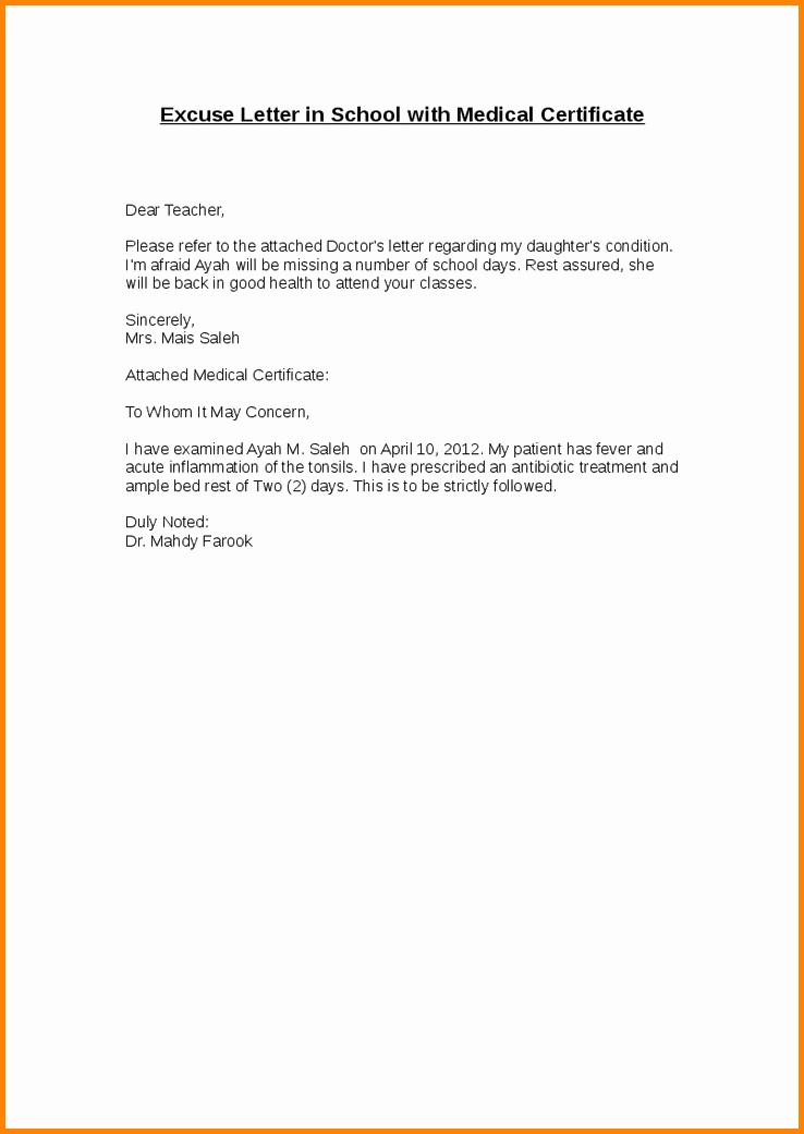 Absence Note for School Examples Beautiful Sample Excuse Letter for Missing School 10 Coolest Absence