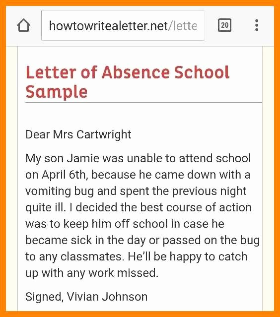 Absence Note for School Examples Best Of 5 6 School Absence Letter Due to Fever