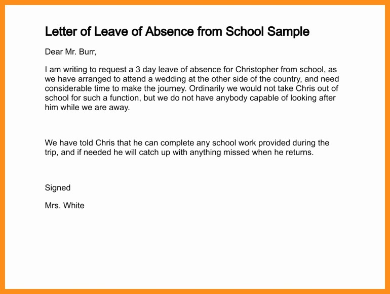 Absence Note Sample for School Awesome Write A Absent Note to School