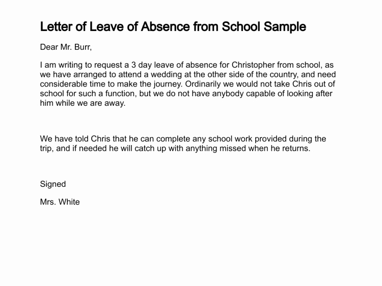 Absence Note Sample for School Beautiful Letter Of Leave Of Absence