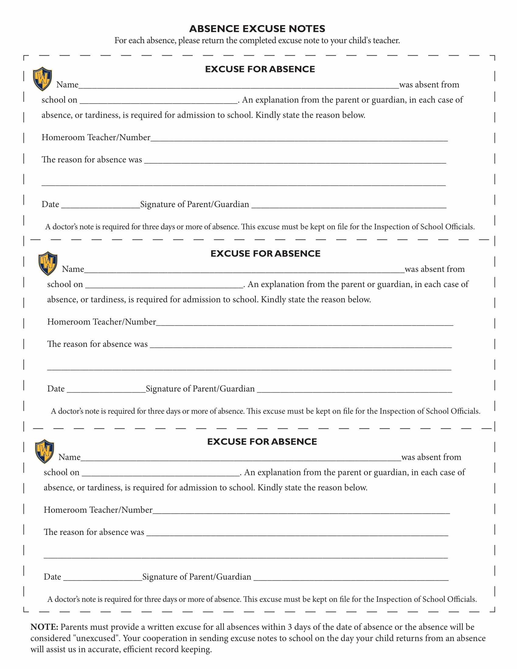 Absence Note Sample for School Best Of 8 School Excuse Note Templates Pdf