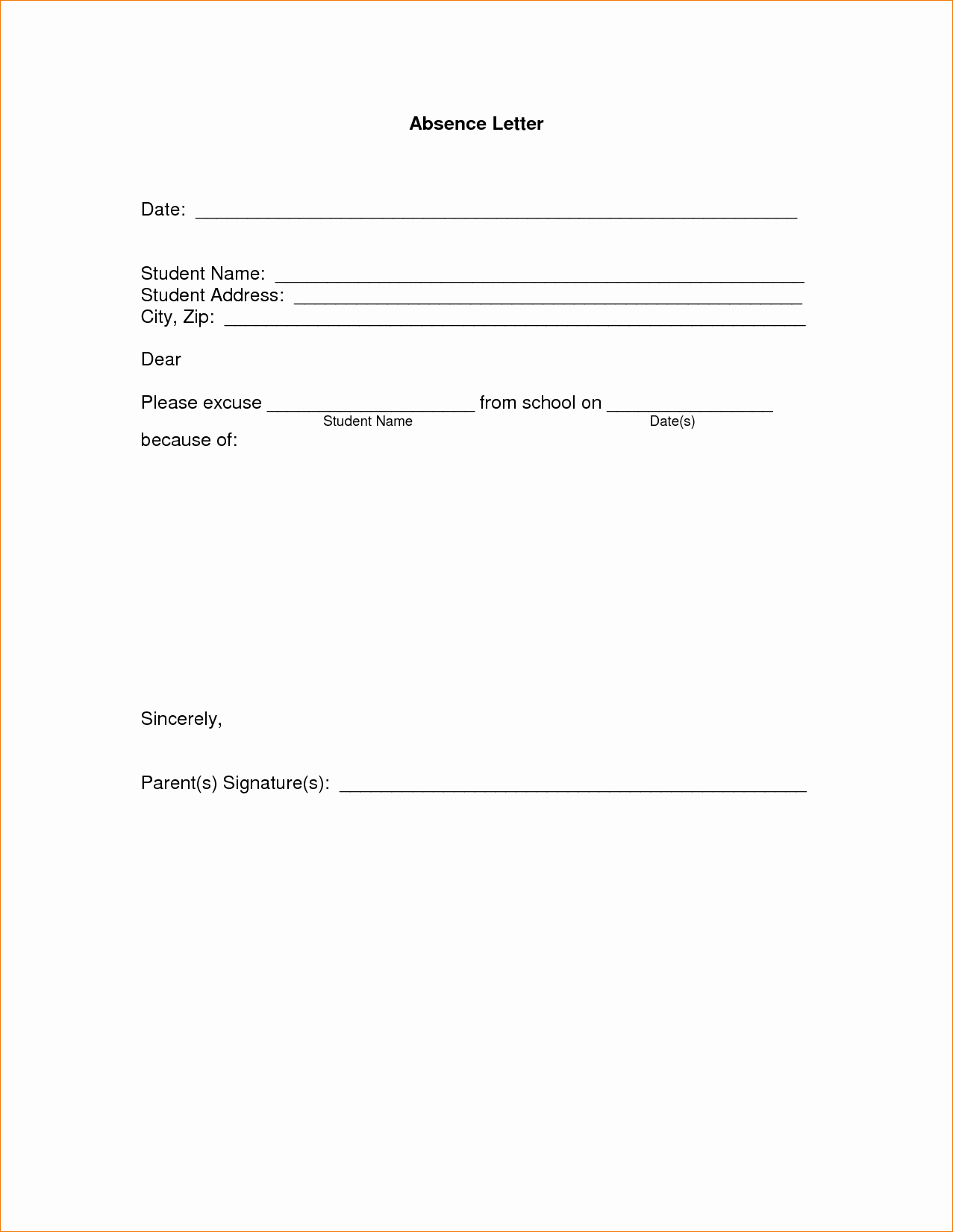 Absence Note Sample for School Elegant 11 Absence Excuse Letteragenda Template Sample