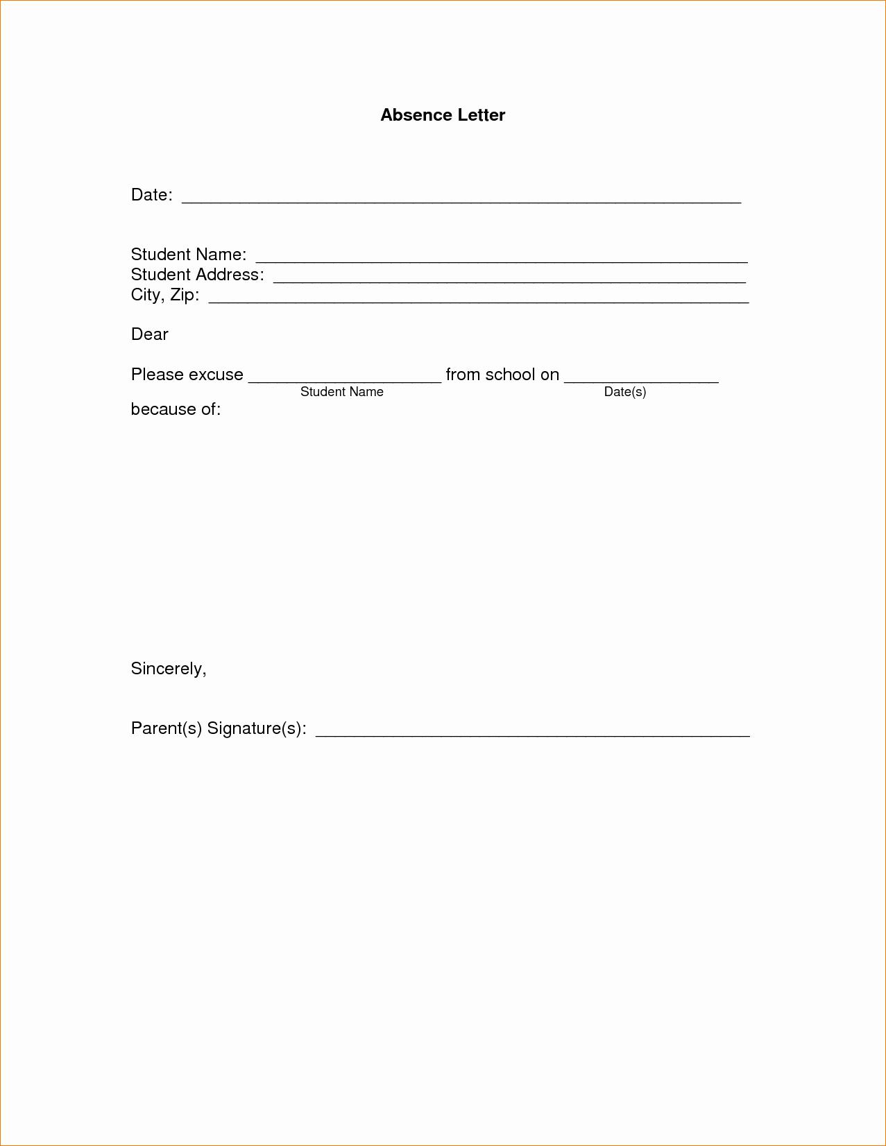 Absence Note Sample for School Elegant 11 Absence Excuse Letteragenda Template Sample