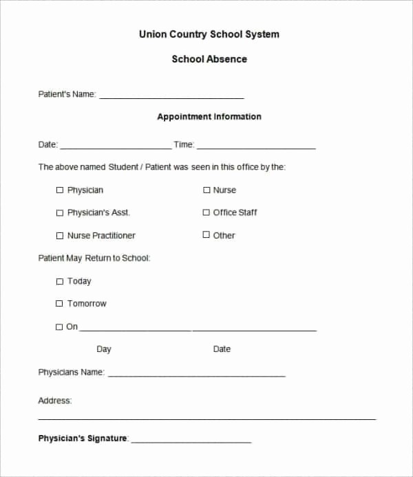 Absence Note Sample for School Elegant 28 Doctors Note Templates Pdf Doc