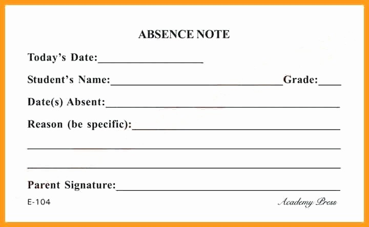 Absence Note Sample for School Elegant Absence Notes for School Samples Design Templates
