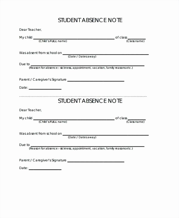 Absence Note Sample for School Inspirational Holiday Request Email Absent Note format for School Leave