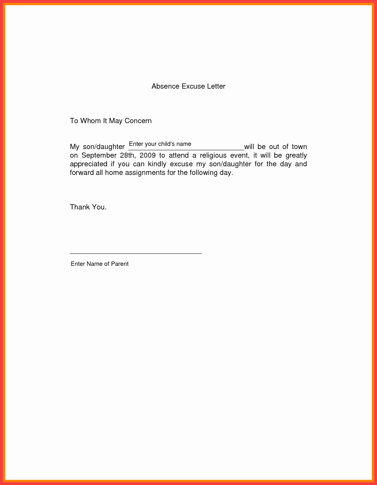 Absence Note Sample for School Inspirational School Excuse Letter Sample