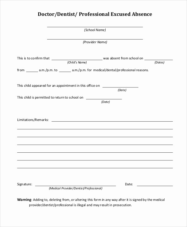 Absence Note Sample for School Lovely 34 Free Doctors Note Templates