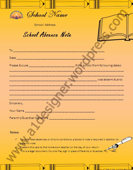 Absence Note Sample for School Lovely Certificate Templates