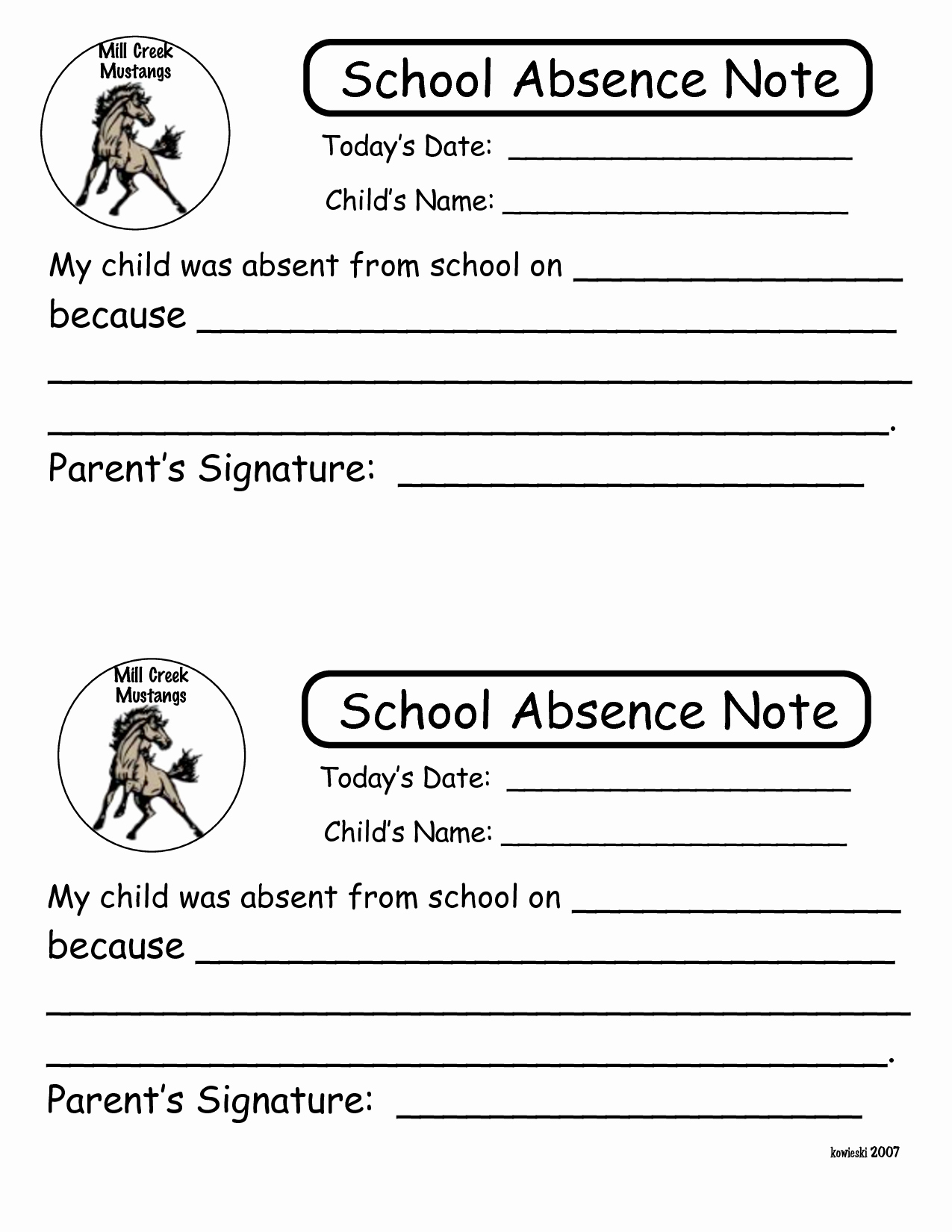Absence Note Sample for School New Printable Notes for School Absence to Pin On
