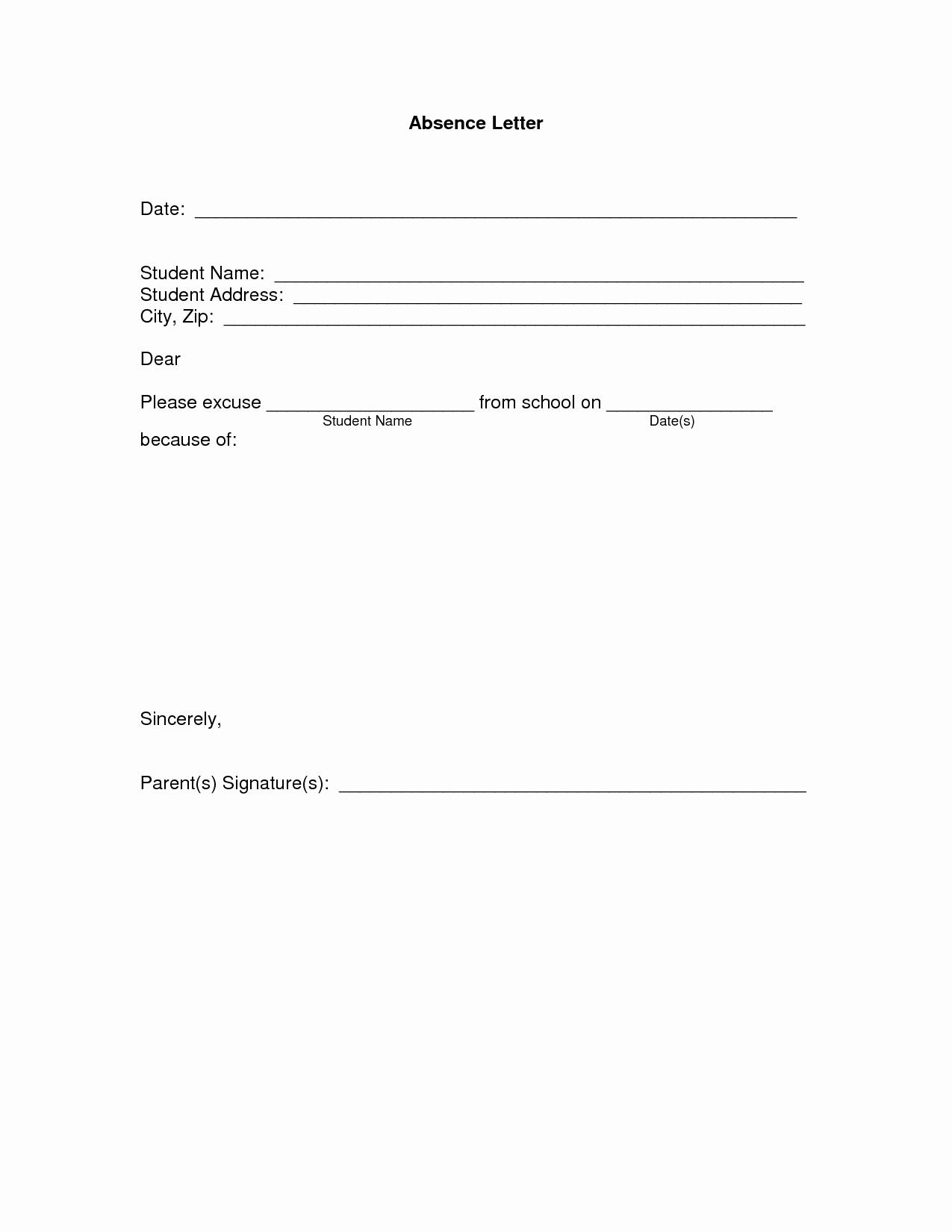 Absent From School Letter Sample Elegant Best S Of Student Absence Letter Student Absence