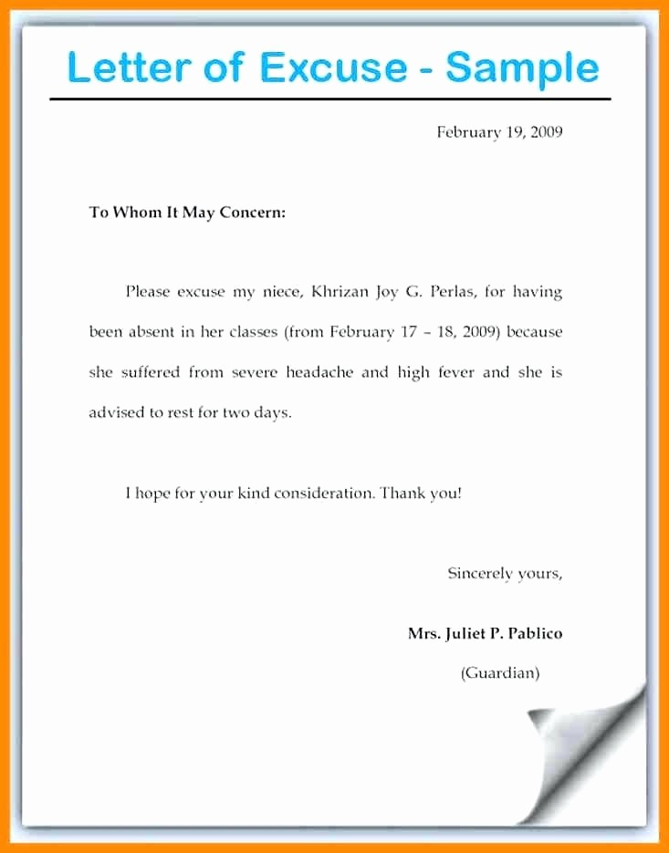 Absent From School Letter Template Elegant Template Absence Note for School Template From Unique How