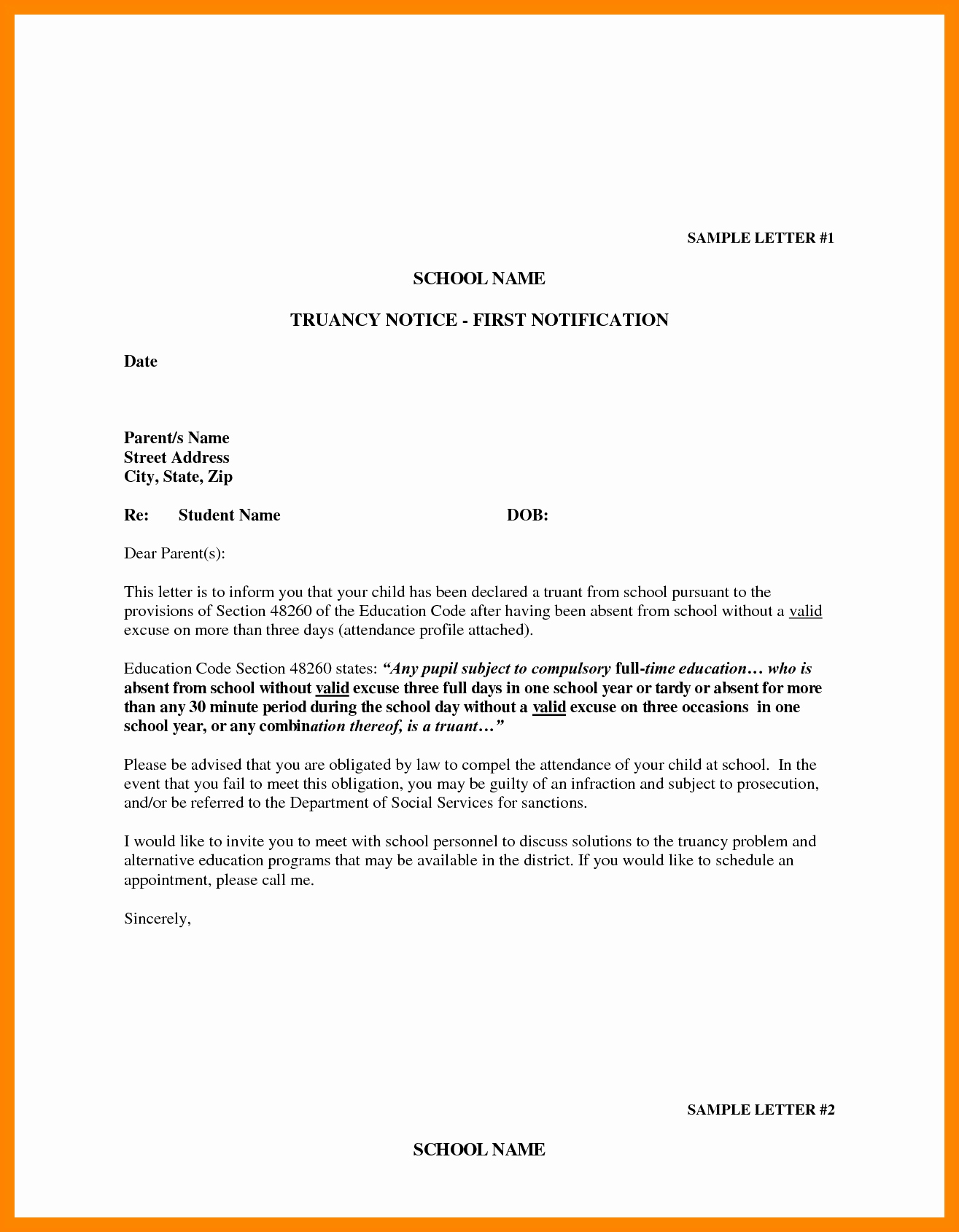 Absent From School Letter Template Lovely 9 Example Of Absence Letter for Student
