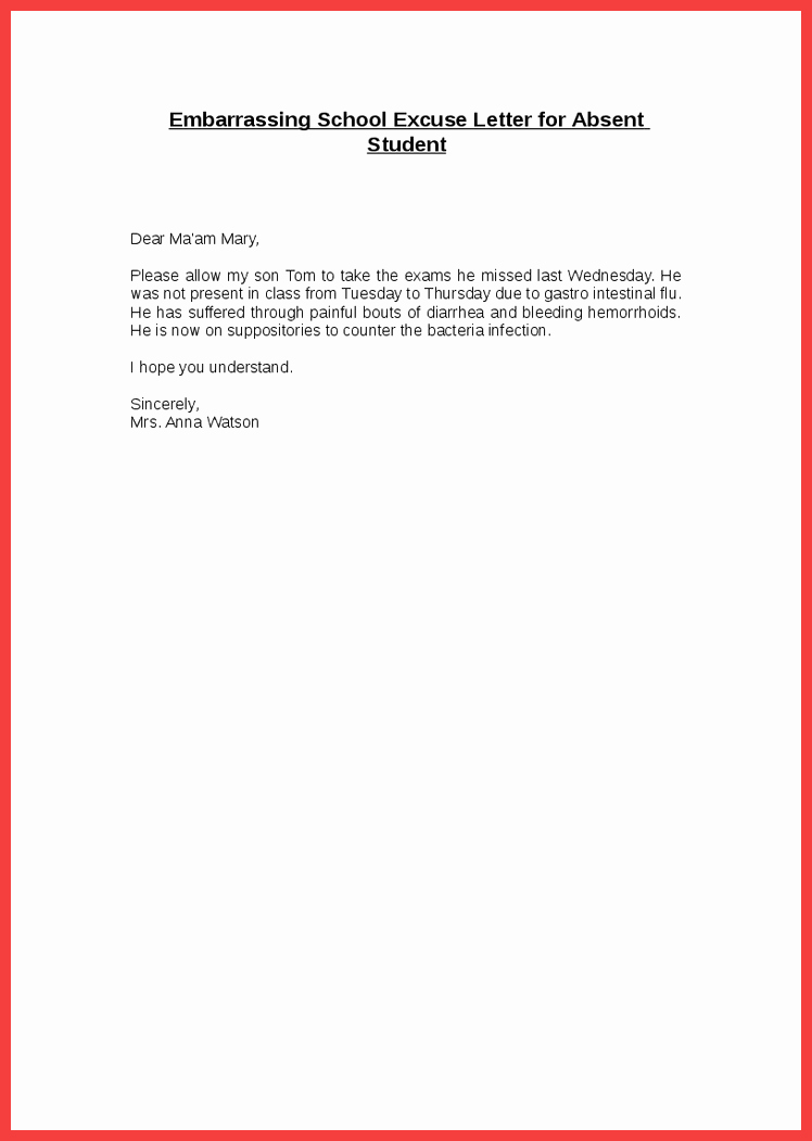 Absent From School Letter Template Lovely School Excuse Letter Sample