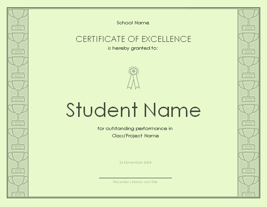 Academic Excellence Award Certificate Template Awesome Certificate Excellence for Student Free Certificate