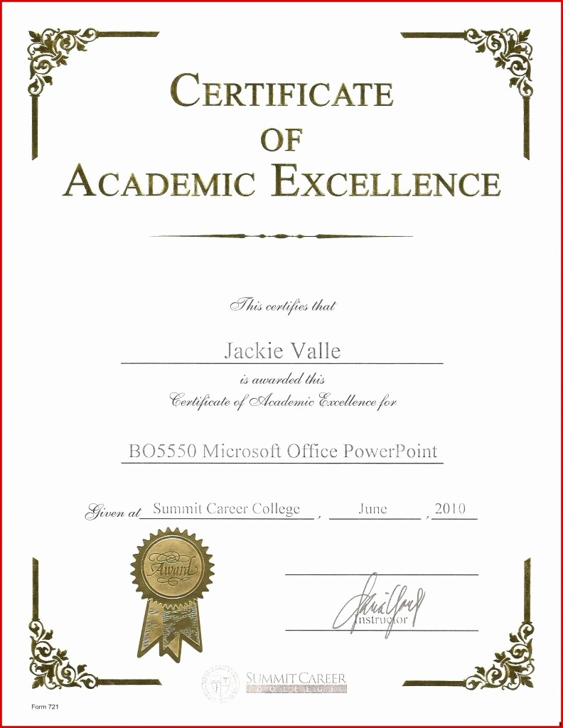 Academic Excellence Award Certificate Template Awesome Scholarship Certificate Template T