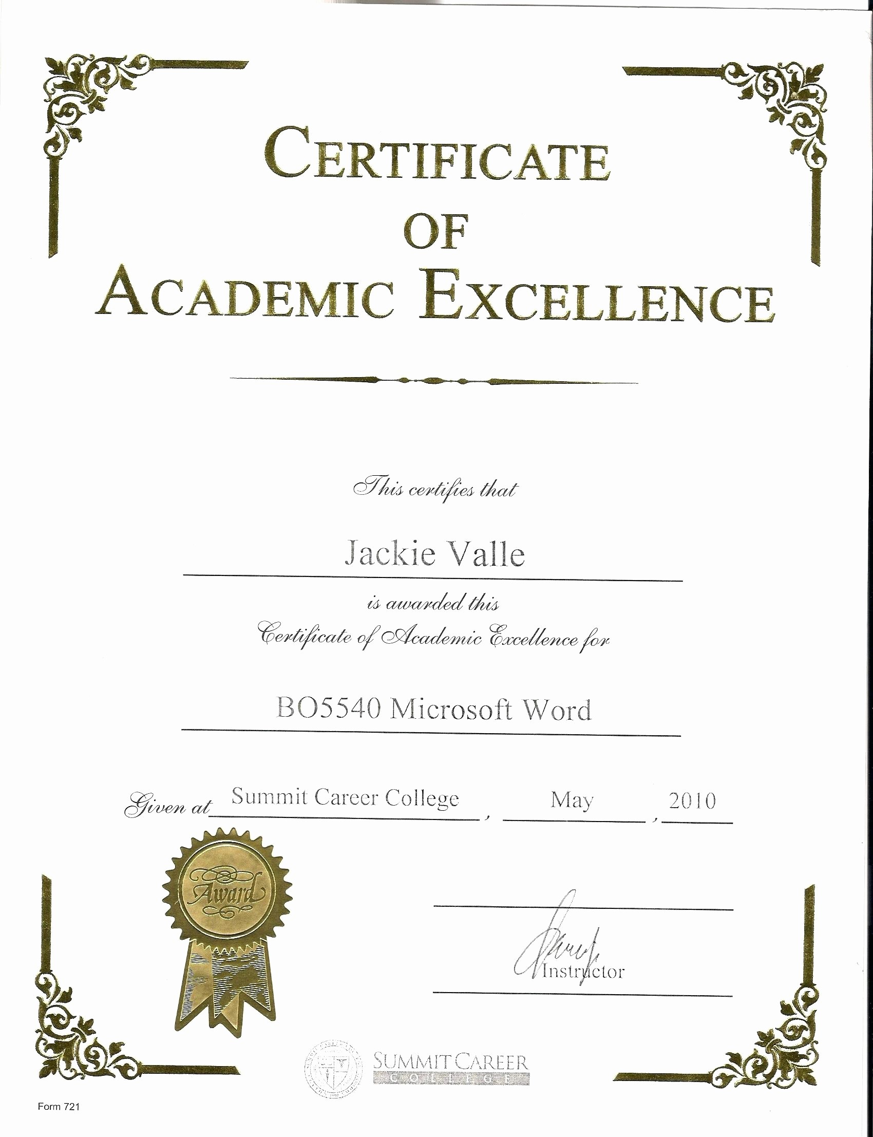 Academic Excellence Award Certificate Template Beautiful Template Award Certificate Template Word