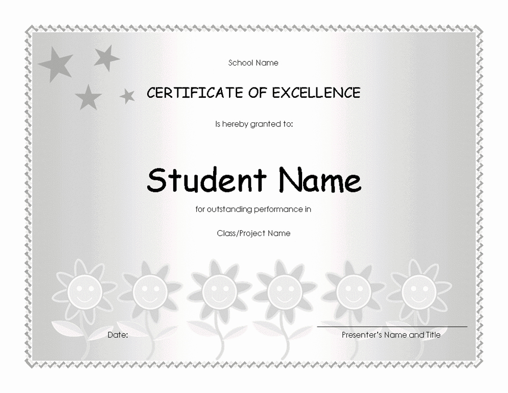 Academic Excellence Award Certificate Template Elegant Student Excellence Award Elementary Free Certificate