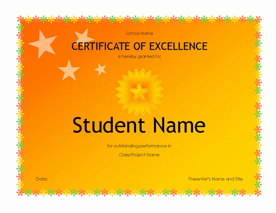 Academic Excellence Award Certificate Template Elegant Student Excellence Award High School Free Certificate