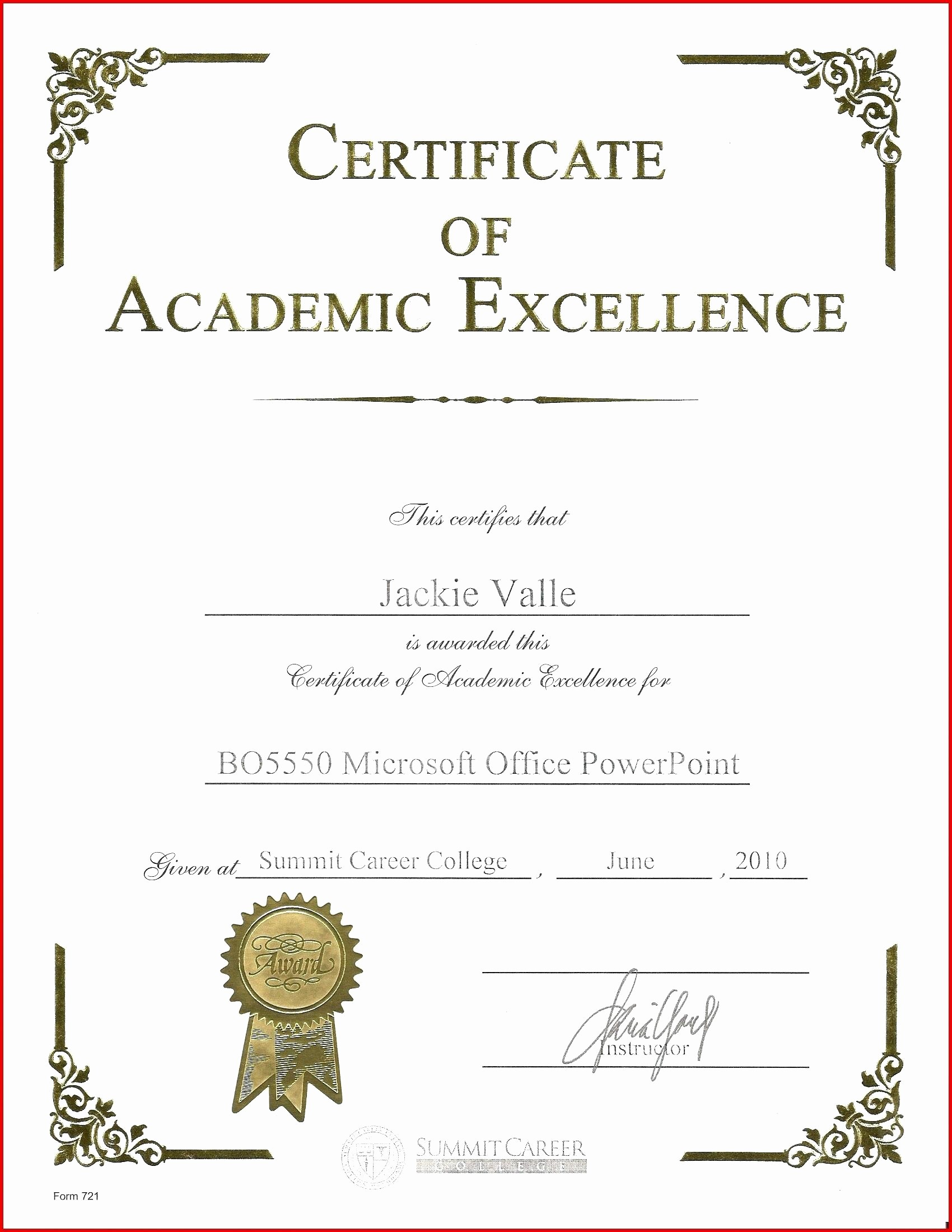 Academic Excellence Award Certificate Template Elegant Template Award Excellence Template