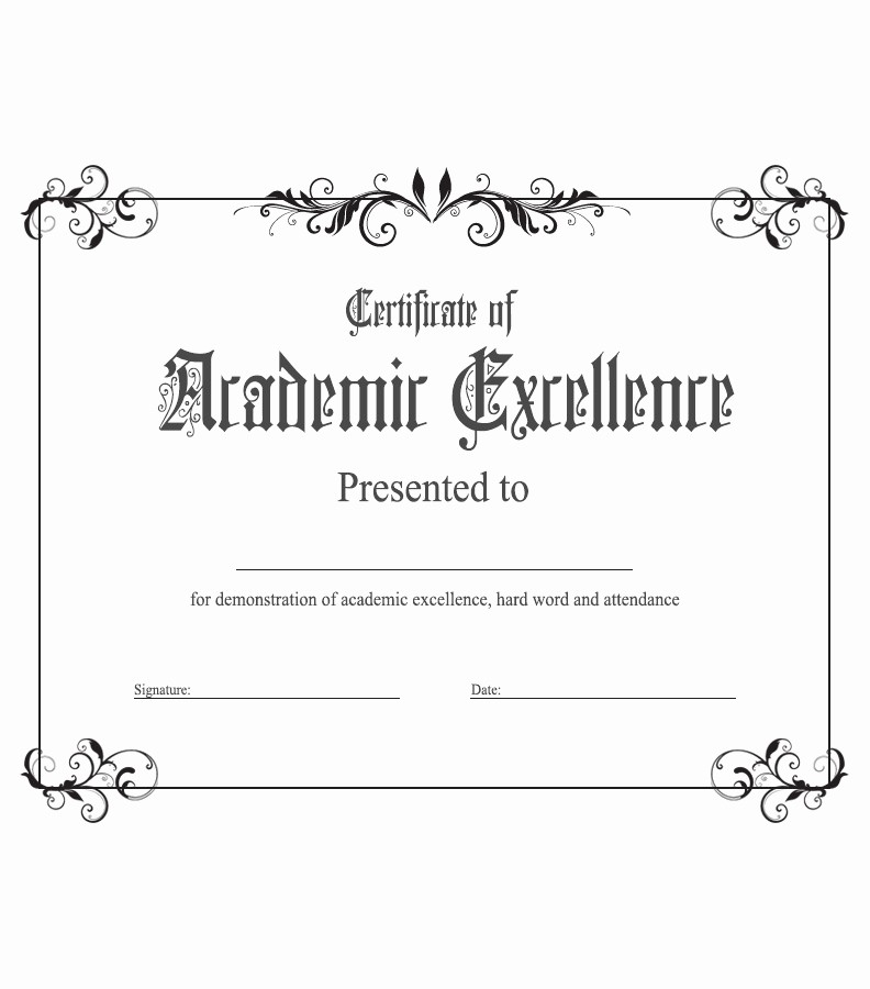 Academic Excellence Award Certificate Template Fresh Academic Excellence Award Kukook