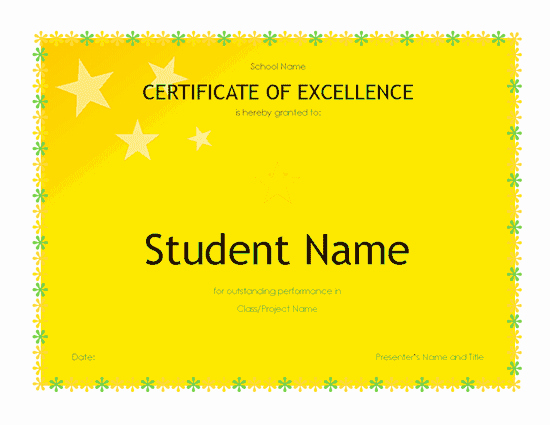 Academic Excellence Award Certificate Template Fresh Student Excellence Award High School Free Certificate