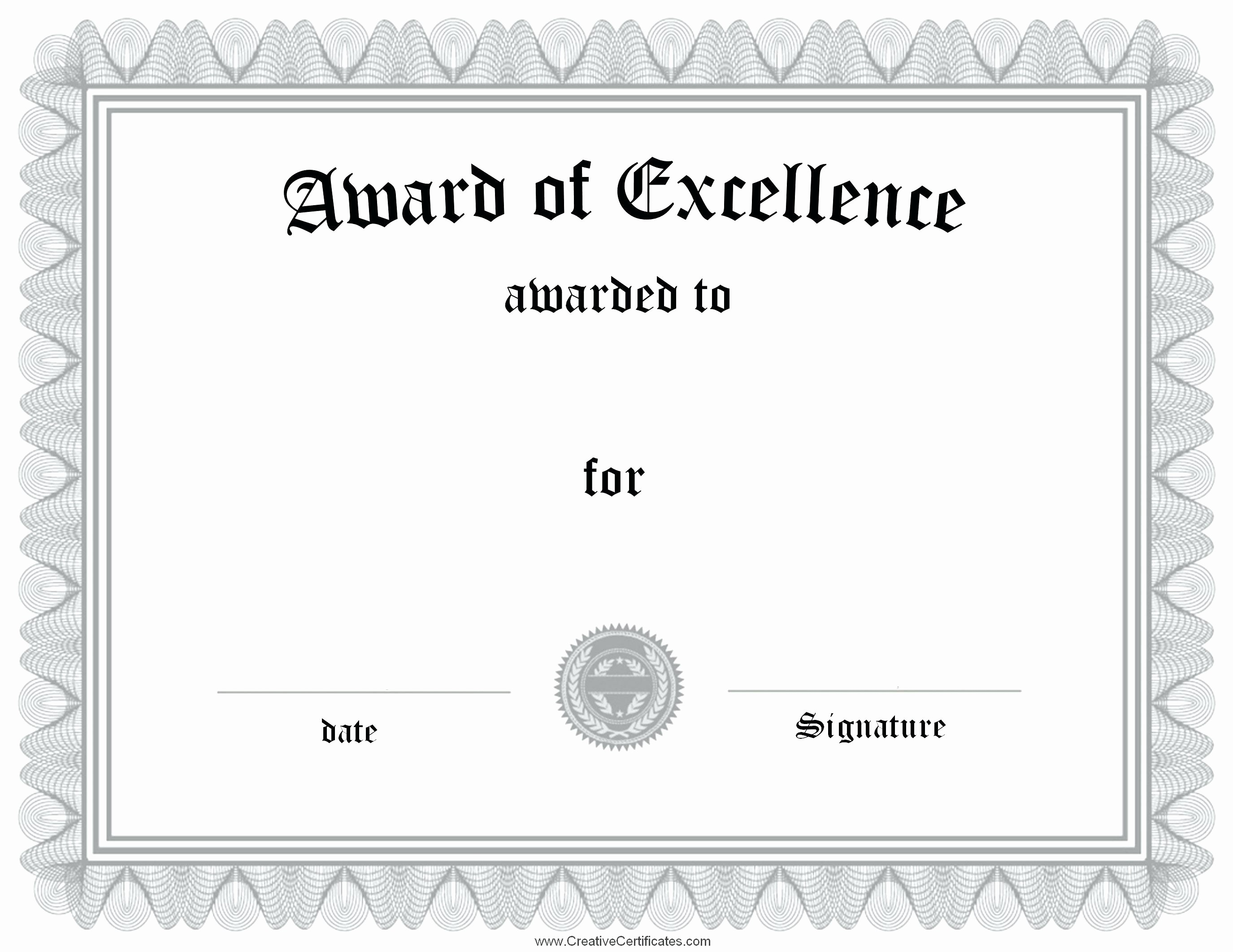 Academic Excellence Award Certificate Template Fresh Template Award Excellence Certificate Template