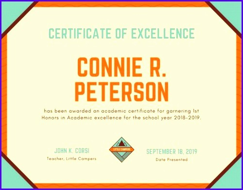 Academic Excellence Award Certificate Template Inspirational 12 Certificate Excellence Template Exceltemplates