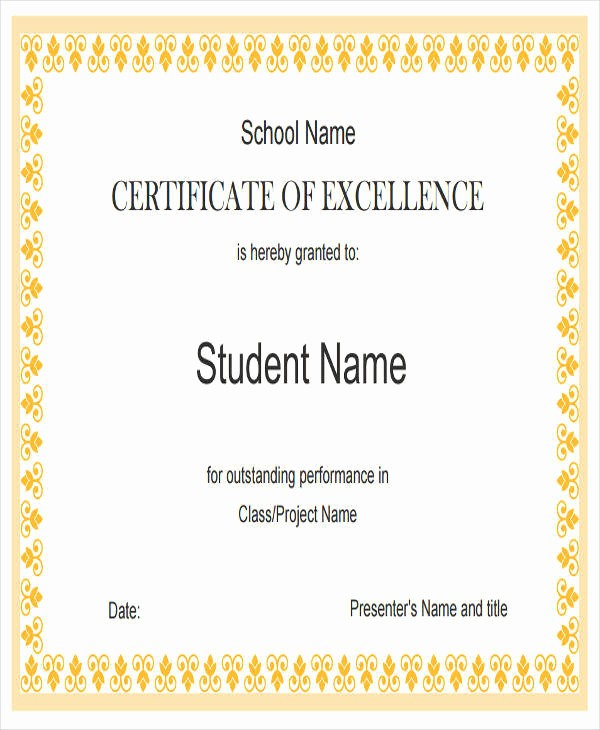 Academic Excellence Award Certificate Template Inspirational 23 Blank Award Certificates