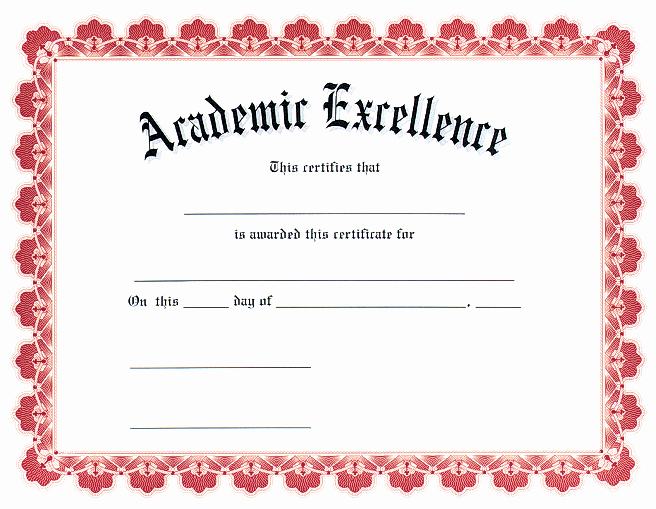 Academic Excellence Award Certificate Template Inspirational Award Certificates