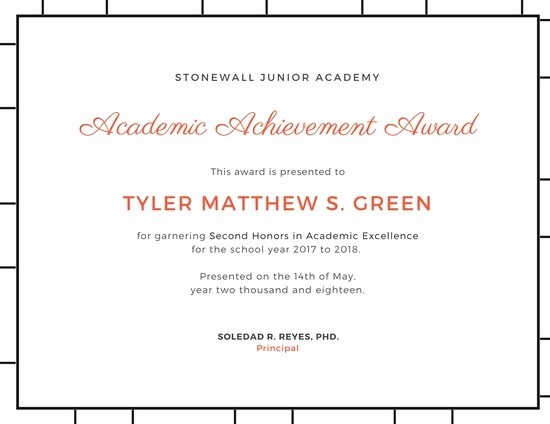 Academic Excellence Award Certificate Template Inspirational Certificate Academic Excellence Template