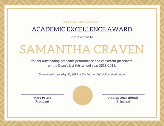 Academic Excellence Award Certificate Template Lovely Customize 90 Student Certificate Templates Online Canva
