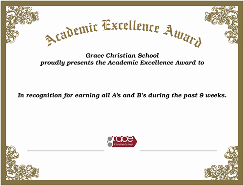 Academic Excellence Award Certificate Template Luxury Academic Awards First Honors