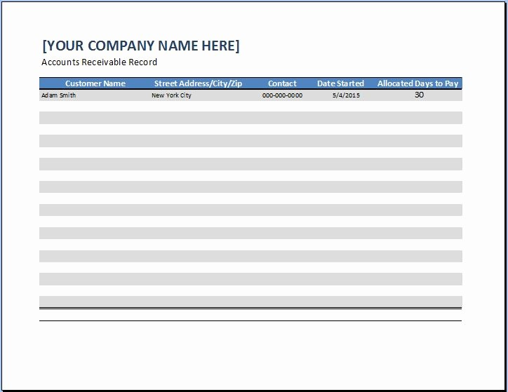Accounts Receivable Excel Template Free Beautiful General Business Account Receivable Template