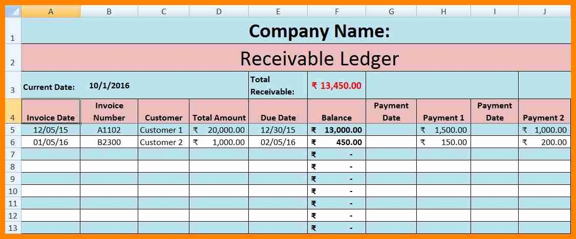 Accounts Receivable Excel Template Free Inspirational 5 Excel Accounting Ledger Template Free