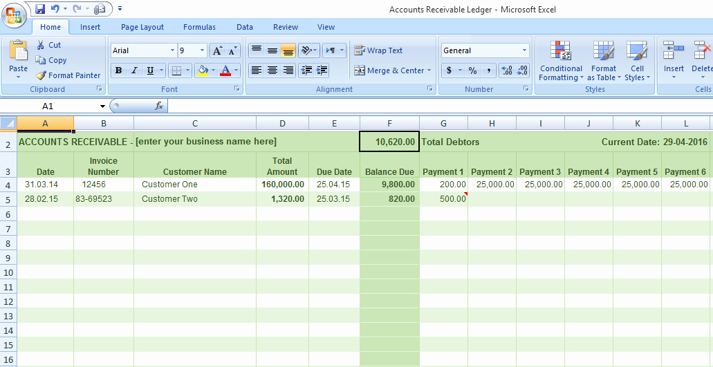 Accounts Receivable Excel Template Free Lovely Accounts Receivable Ledger Template