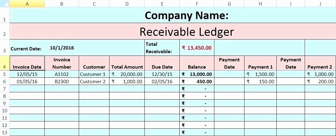 Accounts Receivable Ledger Excel Template Awesome Bookkeeping Ledger Template – Onlineemilyfo