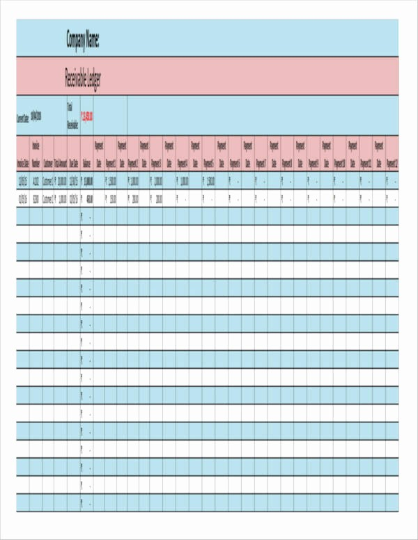 Accounts Receivable Ledger Excel Template Unique 7 Accounts Receivable Spreadsheet Samples and Templates