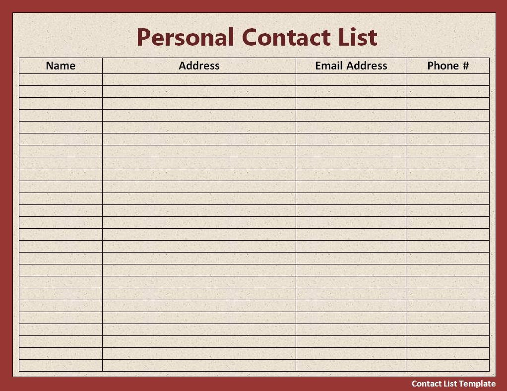 Address and Phone Number Template Beautiful 10 Contact List Template