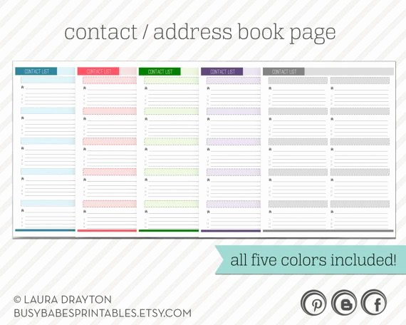 Address Book Online Free Download Lovely Contact List Printable Includes Five Colors Address