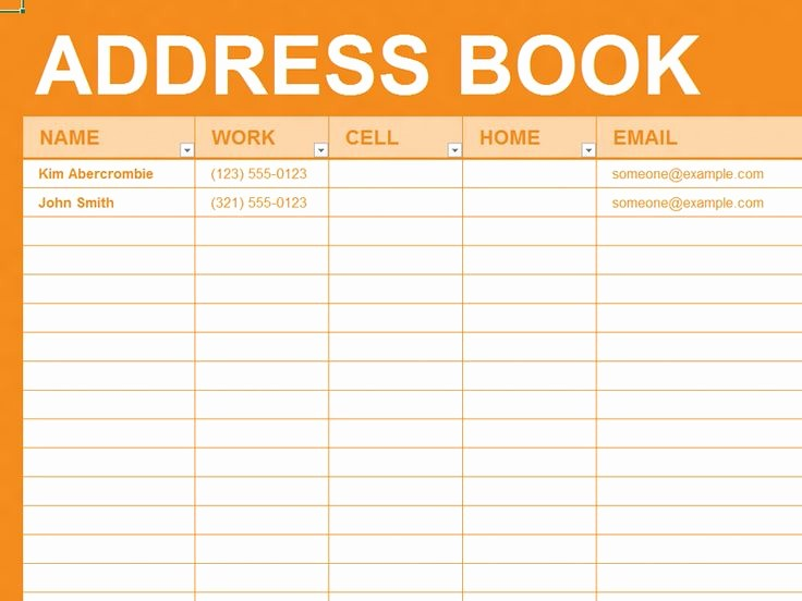 Address Book Template Google Docs New Free Excel Template Personal Address Book